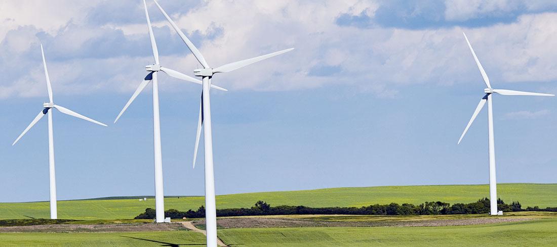 Vier Windräder auf einer grünen Wiese und vor einem, mit wenigen Wolken bedeckten, blauen Himmel.