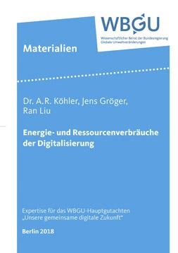 """Publikationscover: Der Titel """"Energie- und Ressourcenverbräuche der Digitalisierung"""" auf hellblauem Hintergrund."""