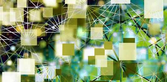 Ein abstraktes Bild- Im Vordergrund sind verschieden große Quadrate in unterschiedlichen Grüntönen, teils überlappend angeordnet. Hinter den Quadraten befinden sich Linien, die diese Quardrate vernetzen.
