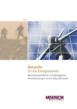 Publikationscover: Auf der einen Hälfte ist eine Nabe eines Windrads und die Rotoren auf der anderen Hälfte Silhouetten von zwei Arbeitern, die Minerale fördern, zu sehen.