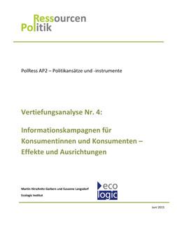 Publikationscover: Informationskampagnen für Konsumentinnen und Konsumenten - Effekte und Ausrichtungen. Unter dem Titel findet sich das Logo des ecologic Instituts, welches die Analyse erstellte.