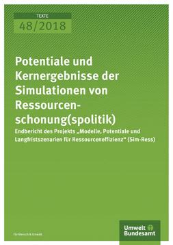 """Publikationscover. Grünes Cover auf dem der Titel: """"Potenziale und Kernergebnisse der Simulationen von Ressourcenschonung(spolitik)"""" und das Logo vom Umweltbundesamt steht."""