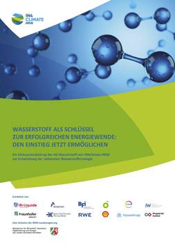 """Publikationscover: Im oberen Drittel sind Modelle von Wasserstoffmolekülen abgebildet. Darunter der Titel """"Wasserstoff als Schlüssel zur erfolgreichen Energiewende: Den Einstieg jetzt ermöglichen"""" und die Beteiligten Organisationen."""