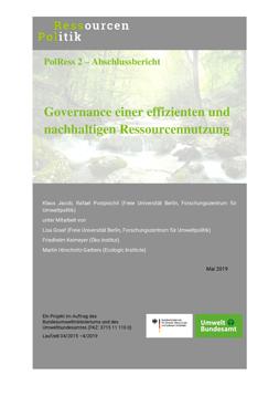 """Publikationscover: im oberen Drittel ist im Hintergrund ein Bach in einem Wald. davor ist der Titel """"Governance einer effizienten und nachhaltigen Ressourcennutzung""""."""