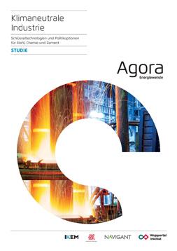 """Publikationscover: Zentral befindet sich ein runder Ausschnitt aus einem Foto eines Stahlwerks. Darüber der Titel """"klimaneutrale Industrie. Schlüsseltechnologien und Politikoptionen für Stahl, Chemie und Zement"""". Daneben der Name """"Agora Energiewende"""" der Auftraggeber."""