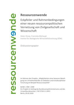 """Publikationscover: auf der linken Seite das auf die Seite gedrehtes Logo der Ressourcenwende. Rechts daneben der Titel: """"Ressourcenwende. Eckpfeiler und Rahmenbedingungen einer neuen ressourcenpolitischen Vernetzung von Zivilgesellschaft und Wissenschaft."""""""