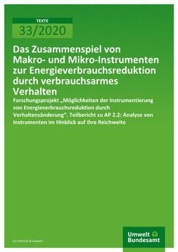 """Publikationscover: Grüner Hintergrund mit dem Titel """"Das Zusammenspiel von Makro- und Mikro-Instrumenten zur Energieverbrauchsreduktion durch verbrauchsarmes Verhalten"""" in weißer Schrift."""