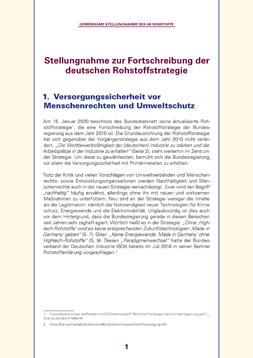 """Erste Seite der Publikation: """"Stellungnahme zur Fortschreibung der deutschen Rohstoffstrategie"""""""