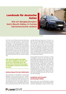 """Publikationscover: Im oberen Drittel findet sich ein Auto in einer Stadt, daneben der Titel: """"Landraub für deutsche Autos"""". Darunter beginnt der Publikationstext."""