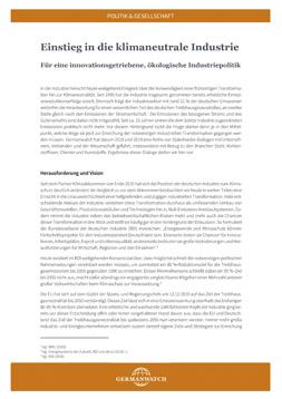 Publikationscover: Erste Seite des Kurzpapiers mit Fließtext.