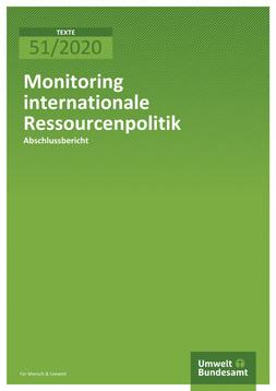 """Publikationscover: Grüner Hintergrund, auf dem im oberen Drittel der Titel """"Monitoring internationale Ressourcenpolitik"""" steht."""