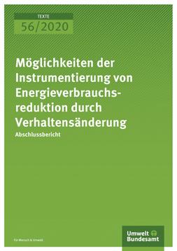 """Publikationscover: grüner HIntergund mit dem Titel """"Möglichkeiten der Instrumentierung von Energieverbrauchsreduktion durch Verhaltensänderung"""" in weiß."""