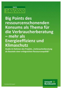 """Publikationscover: grüner Hintergrund mit dem Titel """"Big Points des ressourcenschonenden Konsum als Thema für ie Verbraucherberatung - mehr als Energieeffizienz und Klimaschutz"""" in weiß."""