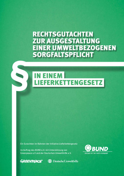 """Publikationscover: grüner Hintergrund mit dem Titel """"Rechtsgutachten zur Ausgestaltung einer umweltbezogenen Sorgfaltspflicht in einem Lieferkettengesetz"""". Daneben ein Paragrafenzeichen in weiß."""