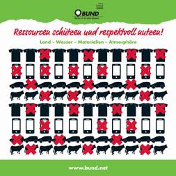 """Publikationscover: Acht Reihen Icons von T-Shirts, Handys, Autos und Kühen, von denen jedes dritte Icon durchgestrichen ist. Darüber der Titel """"Ressourcen schützen und respektvoll nutzen""""."""