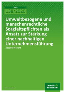 """Publikationscover: grüner Hintergrung mit dem Titel """"Umweltbezogene und menschenrechtliche Sorgfaltspflichten als Ansatz zur Stärkung einer nachhaltigen Unternehmensführung"""" in weiß."""