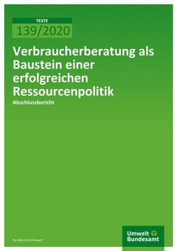 """Publikationscover: grünber Hintergrund mit dem Titel """"Verbraucherberatung als Baustein einer erfolgreichen Ressourcenpolitik"""" in weiß."""