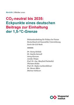 """Publikationscover: Weißer Hintergrund und in den Farben - rot und ein dunkles türkis - des Wuppertal Institutes, dass die Studie erstellte, steht der Titel """"CO2-neutral bis 2035: Eckpunkte eines deutschen Beitrags zur Einhaltung der 1,5°C-Grenze""""."""