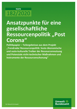 """Publikationscover: grüner Hintergrund mit dem Titel """"Ansatzpunkte für eine gesellschaftliche Ressourcenpolitik 'Post Corona'"""" in weiß."""