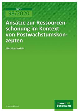 """Publikationscover: grüner Hintergrund auf dem in weiß der Titel """"Ansätze zur Ressourcenschonung im Kontext von Postwachstumskonzepten"""" steht."""
