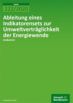 """grund auf dem in weiß der Titel: """"Ableitung eines Indikatorensets zur Umweltverträglichkeit der Energiewende"""" steht"""