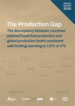 """Braunes Cover mit dem Titel: """"The Production Gap"""". IM Hintergrund mobile Bohrstationenauf dem Meer"""