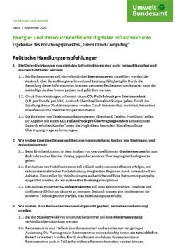 """Bld mit weißem Hintergrund und dem Titel: """"Energie- und Ressourceneffizienz digitaler Infrastrukturen: Ergebnisse des Forschungsprojektes """"Green Cloud-Computing"""""""