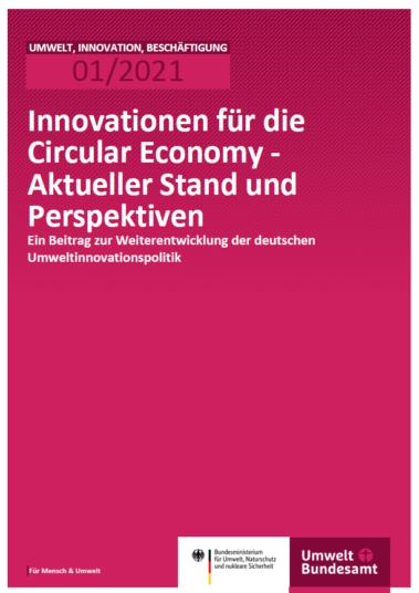 Pinkes Cover mit dem Titel: Innovationen für die Circular Economy - Aktueller Stand und Perspektiven Ein Beitrag zur Weiterentwicklung der deutschen Umweltinnovationspolitik