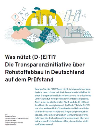 Cover mkt verschiedenen Rohstoffen und dem Titel: Was nützt (D-) EITI? Die Transparenzinitiative über den Rohstoffabbau in Deutschland auf dem Prüfstand