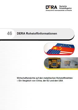 Publikationscover DERA: weißer Hintergrund mit dem Titel: Wirtschaftsmächte auf den metallischen Rohstoffmärkten – Ein Vergleich von China, der EU und den USA. Die europäische Flagge, die der USA und die von China sind zu sehen