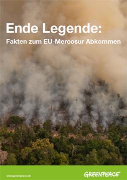 Publikationscover mit dem Titel: Ende Gelände. Faktencheck zum EU Mercosur Abkommen. Im Hintergrund brennende Wälder