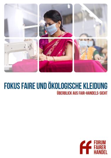 Nähende Frau mit Maske. Titel: Fokus Faire und Ökologische Kleidung