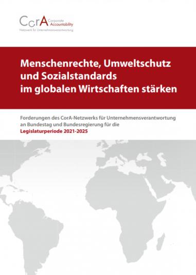 Rot-weißes Cover mit dem Titel: Menschenrechte, Umweltschutz und Sozialstandards im globalen Wirtschaften stärken. Darunter zu sehen: eine Weltkarte